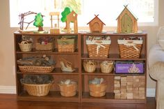 One day when my kids are no longer throwing toys at one another I would love to have a nature section in our school room. Rocks, sticks, pinecones, acorns! Great for learning and great for fun.