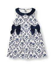 floral damask dress in soft cotton sateen, velveteen peter-pan collar and bows in front, Buttons in back