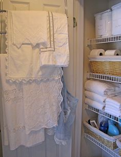 Use this idea in the pantry to store table cloth and napkins.  Also plastic bags on top of shelf after sheets have been laundered and ironed.    The Complete Guide to Imperfect Homemaking: 31 DAYS TO AN ORGANIZED HOME