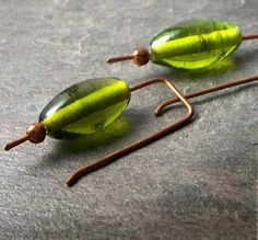 Earrings Copper Green Glass Rectangle Simple by VCArtisanOriginals, $15.00