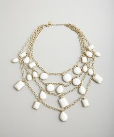Danielle Stevens white multi layered chain necklace | BLUEFLY up to 70% off designer brands at bluefly.com