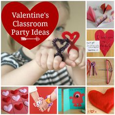 35 Valentine's Day Classroom Party Ideas - Are you helping with a party this year? Possibly a Room Parent? Here's a list of a few fun things to do for Valentine's Classroom Party Ideas Kinder Valentines, Valentines Day Activities, Valentines Day Party, Valentine Day Crafts, Love Valentines, Valentine Ideas, Valentine Nails, Valentinstag Party, School Parties