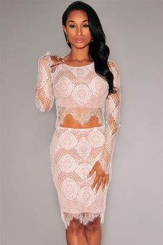 White Nude Illusion Delicate Lace Skirt Set