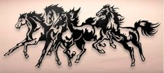 Ship in 1-3 weeks Limited edition Running wild! Four horses stampede across your wall, elegant and bursting with energy. Hangers are welded to the back to aid i