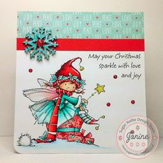 'Elf Made Magic' digi stamp available to buy from www.funkykits.co.uk