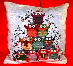 Decorative Christmas Pillow, Christmas Tree Pillow, Owls Pillow Covers, Pillow With Both Sides , Christmas Décor, Great Christmas Gifts.