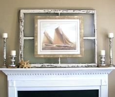 Window+Frame+Decorating+Ideas | Use an old window frame to mount art for a rustic worn look. Via ...