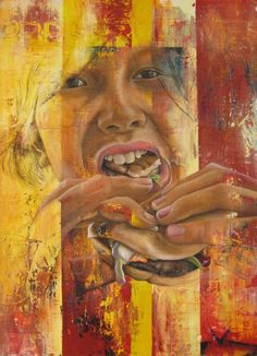 Amazing painting by a high school art student, Nikau Hindin. Exploring food / unhealthy eating...