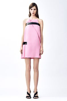 Christopher Kane | Pre-Fall 2015 | 08 Pink strapless mini dress with black patent leather details
