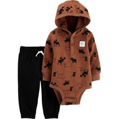 Child of Mine by Carter's Baby Boy Hooded Long Sleeve Bodysuit and Pant Outfit Set, 2 pc set Pants Outfit, Outfit Sets, Carters Baby Boys, Infant Boys, Brown Outfit, Thermal Long Sleeve, 2 Piece Outfits, Pull On Pants, Long Sleeve Bodysuit
