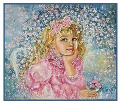 Angel of the Cherry Blossoms inspired by Yumi Sugai Counted Cross Stitch or Counted Needlepoint Pattern