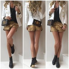 Full look - #Balmain blazer, #Zara tank top, #Chanel shorts and boots and #LouisVuitton bag. See previous post for Up Close.