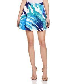 Aqua Abstract Print Pleated Skirt