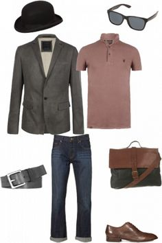 Loving this mens outfit - modern polo mixed with a formal suit jacket and bowler hat #style #fashion #outfit