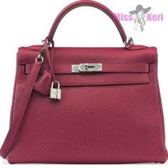 e6bb2aa2e2b6 Herms Rubis Clemence Leather Retourne Kelly W/ Palladium Hardware Red  Satchel.
