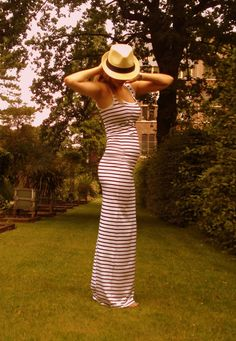Stripe maxi-dress (baby bump :))
