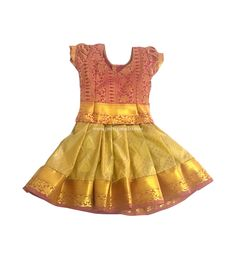 a32604c4fc172f Buy Kids Pure Silk Pavadai Golden and Pink Online  pattu  pavadai  kids   Readymade  pattupavadai  pattupavada  pattu  langa  pattu  frocks  online