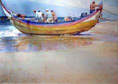 Geoffrey Wynne Acuarelas - Watercolours: PESCADORES PORTUGUESES - PORTUGHESE FISHERMEN