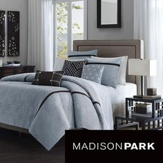 @Overstock.com - Design your bedroom around this modern jacquard 7-piece comforter set from Madison Park. This gorgeous set includes a comforter, bedskirt, two shams, and three decorative pillows for a cohesive look. Its available in blue or green to match your decor. http://www.overstock.com/Bedding-Bath/Madison-Park-Highgate-7-piece-Comforter-Set/5416583/product.html?CID=214117 $99.99