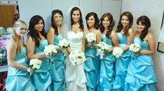 Custom made Tiffany blue turquoise wedding bridesmaid pick up dresses with white bow sash.