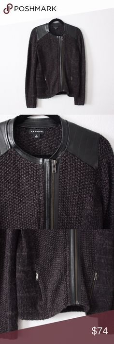 Nordstrom Trouvé Faux-Leather Trimmed Zip Cardigan This gorgeous edgy sweater is the perfect addition to any fall wardrobe!! Looks fantastic over black or blue jeans and over any dress! Make an offer of bundle to save!! 👏🏽 Trouve Sweaters Cardigans