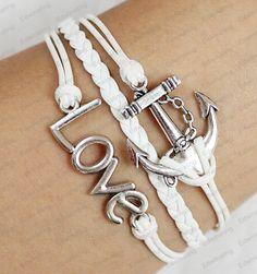 white anchor bracelet love bracelet mens womens bracelet girls bracelets boy bracelets N004