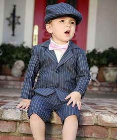 Nothing says sophisticated little man quite like the classic touch of pinstripes.  Add that extra dash of style to a tyke's wardrobe with this adorably handsome blazer.