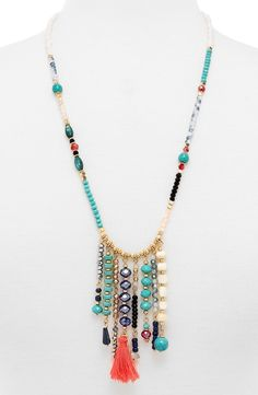 Lux Accessories Women's Turquoise Stone Teardrop & Arrowhead Double Layered Necklace Set – Jewelry & Gifts - BaubleBar 'Congo' Beaded Tassel Necklace - Beaded Necklace Patterns, Beaded Tassel Necklace, Boho Necklace, Boho Jewelry, Jewelry Crafts, Beaded Jewelry, Jewelery, Jewelry Necklaces, Handmade Jewelry