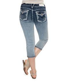 Flora Sequin Pocket Capri Jeans
