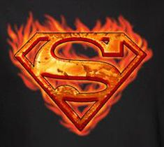 This flaming Superman shield is sure to get you noticed! pre-shrunk cotton tee for men Superman Logo Art, Superman Tattoos, Black Superman, Supergirl Superman, Superman Shirt, Superman Man Of Steel, Superman Stuff, Batgirl, Batman
