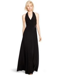 Halter Surplice Black Maxi Dress