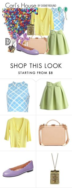 """""""Carl's House"""" by leslieakay ❤ liked on Polyvore featuring Motel, Chicwish, Aspinal of London, Charlotte Olympia, French Sole FS/NY, Disney, Modern Organic Products, disney, disneybound and disneycharacter"""