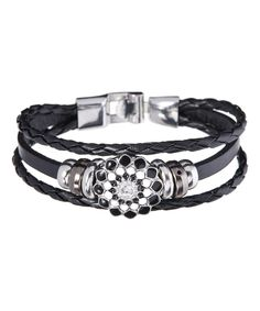 Look at this Silvertone & Black Leather Sunburst Charm Wrap Bracelet on #zulily today!