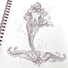 Fillin that sketchbook with some ! - Fillin that sketchbook with some Pin Up Mermaid, Mermaid Sketch, Mermaid Drawings, Mermaid Art, Drawings Of Mermaids, Tattoo Sketches, Tattoo Drawings, Art Sketches, Tattoo Art