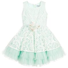 Lesy Girls Green & White Embroidered Dress at Childrensalon.com