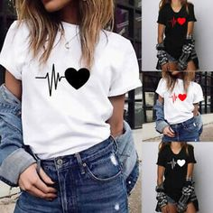 Best 11 Fashion Women's Loose Short-Sleeved Heart Print T-Shirt Casual O-Neck Tops Casual T Shirts, Cool T Shirts, Trendy Outfits, Cute Outfits, Stylish Dresses, T Shirt Painting, Loose Shorts, T Shirts For Women, Clothes For Women