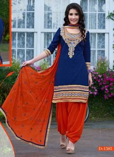 Royal Blue And Orange Georgette Patiala Suit http://www.angelnx.com/featuredproduct#/sort=p.date_added/order=DESC/limit=32/page=8