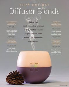 Cozy Holiday diffuser Blends Love the doTERRA Petal that is pictured here, it's my favorite beginner diffuser and one that I often recommend. Do you have questions about diffusers or essential oils? Email me at essentialoilswith. for help! Essential Oil Diffuser Blends, Doterra Essential Oils, Natural Essential Oils, Cassia Essential Oil, Humidifier Essential Oils, Natural Oils, Ravintsara, Diffuser Recipes, Doterra Oils