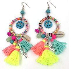 Find More Drop Earrings Information about 2017 new dangle earrings with cotton tassel colorful summer style Polymer claybeads charms earrings with  peace symbol,High Quality earring wholesaler,China earring jackets for diamond studs Suppliers, Cheap earrings ribbon from J&M Fashion Items on line on Aliexpress.com
