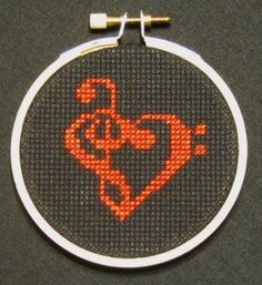 """peteseazle:  """"Love Music"""" - From CrassCross. The cross stitch pattern to make this piece is available for just $3.  """"Threezle"""" - a small cross stitchdesigned by Pete Seazle,framed in a3-INCH HOOP. Now available at my NEW STORE, CrassCross.com! Click the pic to check it out!"""