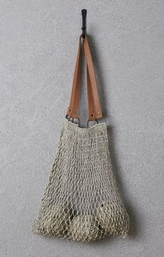 Jute String Bag - Natural with Brown Leather Handle