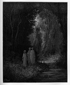 Purgatory: Matelda, Dante and Virgil by the shores of Lethe. Creator: Doré, Gustave Date: c.1868