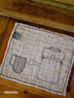 zakka embroider on off whitevfabric scrap