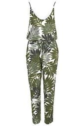 Palm Leaf Print Strappy Jumpsuit