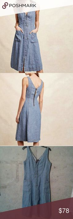 """Anthropologie Holding Horses lace up denim dress Sz 12, NWT . Very soft, light blue denim with lace up detail at bust and exposed zip back. Front pockets. Bust approx 39"""" , length 44"""" Anthropologie Dresses"""