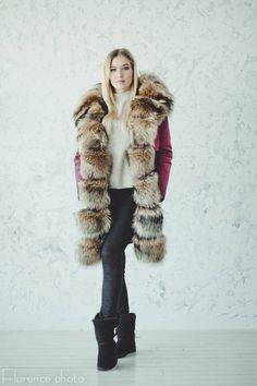 Echter Pelz Parka Mantel Jacke Winter Pelz Lang Fuchs Pelz