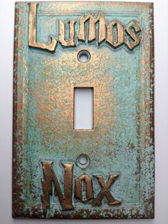 Lumos/Nox (Harry Potter) Light Switch Cover (Custom) (Aged Patina) - for my future library!