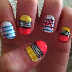 Final exams are coming up so I thought it would be cute to paint my nails school themed :) haha