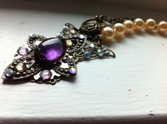Amethyst Bronze Pearl Necklace  Amethyst by CaitAmberDesigns