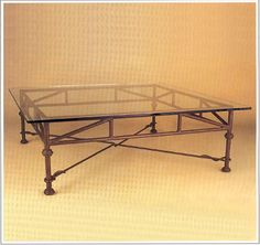"""8078A  FORGED IRON TABLE SHOWN WITH OPTIONAL FLOATING BEVELED GLASS TOP FINISH SHOWN: DESERT SAND BASE DIMENSIONS SHOWN W 42"""" L 42"""" HT 17"""""""